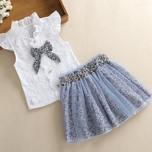 Shirt nuova estate di bambini senza maniche Bow 2020 + due pezzi Leopard Skirt Net