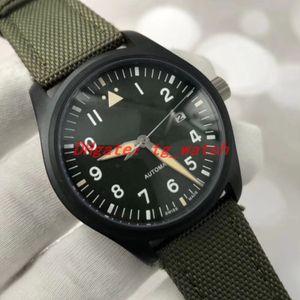 NEW TOP GUN الطيار رجل الساعات الأسود PVD حالة الفولاذ المقاوم للIW326901 الجيش الأخضر جلدية الشريط التلقائية حركة الساعات الفاخرة 40MM Luxusuhr