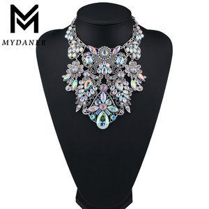 MYDANER Fashion Brand Rhinestone Multicolored Bohemian Good Quality Chunky Collar Women Choker Maxi Statement Necklace Jewelry