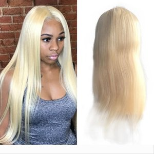 Malaysian Blonde Human Hair Full Lace Wig Silky Straight 613 Color Remy Hair Medium Size cap Swiss Transparent Lace With Bleached Knots
