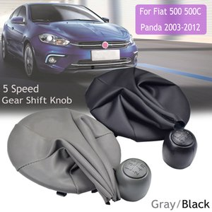 Auto-Gang-Schaltknauf Leder mit Gamasche Boot-Abdeckung für Fiat 500 500C Panda 2003-2012 Schwarz / Grau-Auto Styling für 5-Gang