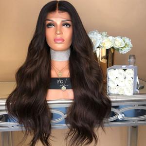 Lockere Curly Gradient Lange Spitze-Front-Perücke Perücke volle Perücken Spitze-Frauen-Inder Remy Menschenhaar Art und Weise neu