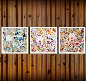 Takashi Murakami, 3 Stück Leinwand-Wand-Kunst-Ölgemälde Wohnkultur (Unframed / Feld).