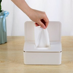 Wet Wipes Dispenser Holder Tissue Storage Box Case with Lid White Home Office