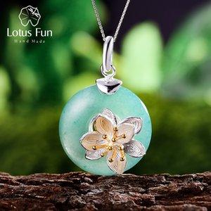 Pendentifs Lotus Fun réel Argent 925 naturel Aventurine Stone Vert Fine Jewelry Lotus Whispers Pendentif pour les femmes sans chaîne