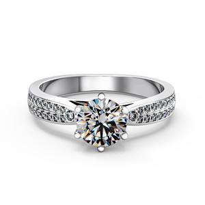 مرصعة بالنجوم 1Ct جولة قص الاصطناعية خاتم الماس الزفاف للنساء حقيقي 925 الفضة الاسترليني عصابة الذهب الأبيض مطلي مجوهرات