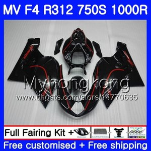 차체 용 MV Agusta F4 R312 750S 1000 R 750 1000CC 05 06 레드 라인 블랙 키트 320HM.4 1000R 312 1078 1 + 1 MA MV F4 05 06 2005 2006 페어링