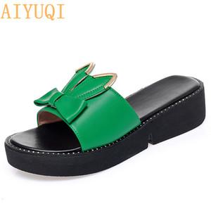 AIYUQI Frauen Hausschuhe Plattform 2020-Sommer-neuer echtes Leder-Frauen Schuhe Größe Cute Bunny Women Slippers