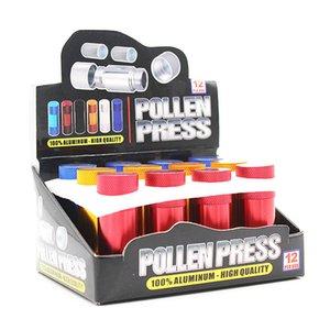 Prensa de polen Pequeño compresor de aleación de aluminio Herb Presser Metal Spice Presser Negro Rojo Color Fumar herramienta