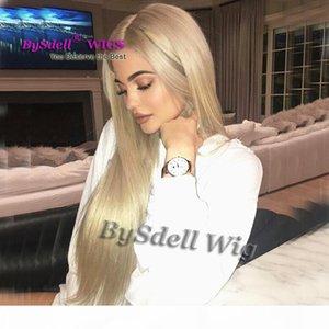 Nuovo arrivo della celebrità Kylie Jenner Ash colori biondi capelli lisci parrucca di capelli sintetici Glueless Lace Front Wigs La donna di platino