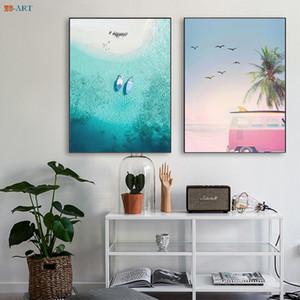 Ocean Beach Waves affiche Surfing peinture sur toile Paysage Mur Art côtier Décor Décoration nordique Accueil