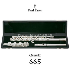 New Pearl Quantz 665 Brand 17 Keys Flute Open Holes Cupronickel strumento musicale flauto a superficie placcato argento con custodia