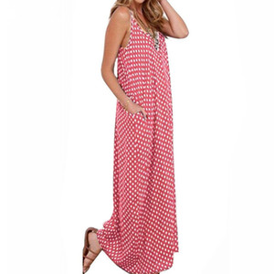 2019 Free Shipping Summer Dresses Fashion Women Polka Dot Casual Loose Long Maxi Dress Sexy Beachwear Sleeveless Backless Vestidos Plus Size