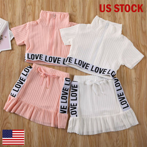 24M-5Y Summer Infant Kids Girls Clothes Sets Fashion Striped Sleeveless Vest Tops Mini Skirts 2pcs Outfits