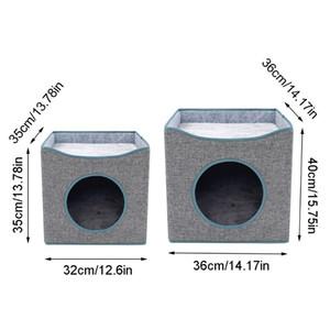 Folding Cat Cube Haus Double Layer Kitty Nap Bed Condo Hund Anti-Kratz-Mat