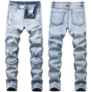 Folds Light Wash Frayed Male Clothing Elastic Slim Hole Mens Jeans Fashion Light Blue Casual Mens Pants