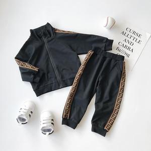 새로운 소년 소녀 편지 축구 야구 운동복 2 개 스포츠 정장을 설정 세트 (자켓 바지) 어린이 의상 아기 운동복 아이들의 의류