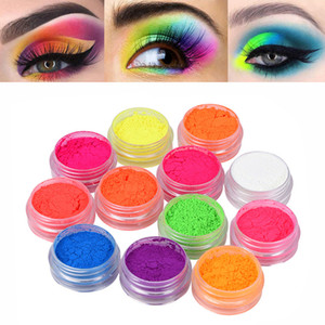 12 pcs set Fluorescence Power Eyeshadow Makeup Long Lasting Pigment Eyeshadow Nail Glitter Powder Waterproof Pigment Eye Shadow Cosmetics