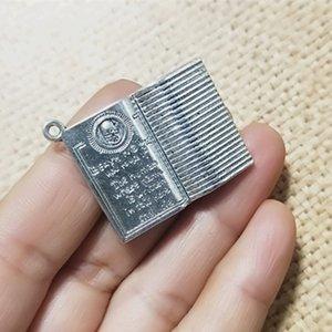 Argent Antique / Bronze Antique Note Book Collier Pendentif Charm Bracelet Boucle D'oreille Charme 25mmx32mm 20pcs / lot