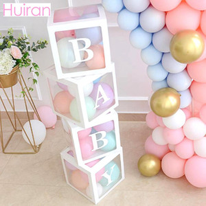 HUIRAN Girl Boy Baby Shower Decorations Caja transparente Baby 2 1st 1 One Birthday Party Decor Gift Babyshower Favors Supplies