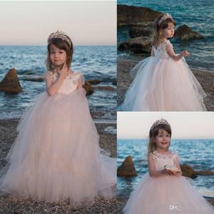 Mädchen Brautjungfer Tüll Spitzenkleid Pageant Geburtstag Weihnachtsfest Kleid Spitze Blumenmädchenkleider Kommunion Kleider 2-14 Jahre