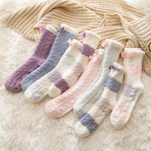 Продавец Рекомендуют высокого качества Девушки Женщины ватки носки Lovly Стиль Зимний Теплый Нечеткие носки 10pairs / серия