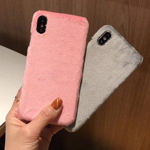 Sevimli Tavşan Saç Yumuşak Sıcak Hard Case Arka Dokunmatik Kürk Kürklü Peluş Koruyucu Kadınlar Kız Lady Kapak iPhone XS Max XR X 8 7 6 6S Artı Smooth