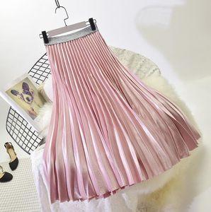 Women Pleated Skirts Elastic High Waist Women Long Skirt Female Autumn Ladies High Quality Midi Skirt Free Size0.0