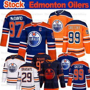 Edmonton Oilers Jersey 97 Connor McDavid 29 Leon Draiseaitl 99 Wayne Gretzky 93 Ryan Nugent Hopkins 2019-2020 الفانيلة الهوكي الأسهم