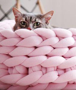Malha Cat Dog Pet Bed filhote de cachorro Pillow Casa macio morno Dog House Mat