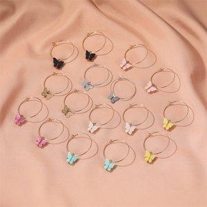 2020 جديد الفراشة قلادة أقراط أكريليك الفراشة هوب الحيوان سحر المرأة القرط الأذن مجوهرات هدايا للبنات