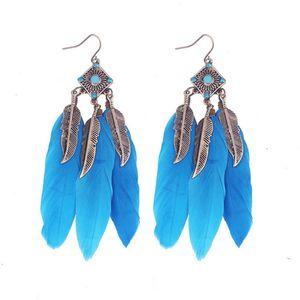 Orecchini lunga nappa moda piuma stile etnico boho stile regina orecchini orecchini da sposa