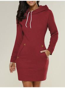 Designer Kleid-Frauen Kleidung warme Winter Frauen beiläufige gerade Kleid mit Kapuze Taschen Herbst Mode Red Femme Designerkleidung