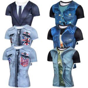 2018 Neueste 3D Printed Männer T-Shirts Jeans-Gefallen Lustige T-Shirts Kurzarm Muskel beiläufiges Elastic Plus Size T-Shirts Kühlen