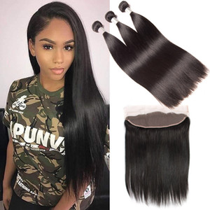 Mongolian Human Hair 13x4 Lace Frontal Silky Straight 95-100g piece Bundles With 13X4 Frontal Natural Color Hair Wefts With Closure