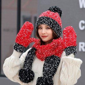 3Pcs inverno delle donne Chunky Knit Cable Beanie Cappello sciarpa guanti set fiocco di neve all'uncinetto Contrasto Colore Pompon Warm Cuffed Cap