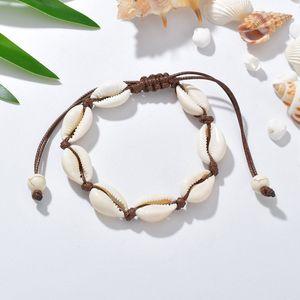 Cowrie Beads Shell Bracelet Seashell Hecho a mano de punto ajustable Brazaletes de cuerda Accesorios de mujer Beaded Strand Bracelet Beach Jewelry