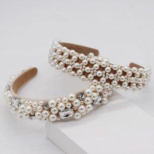 White Pearl Woven Stirnbänder für Frauen-Mädchen-Tanz-Party-Haarband Frauen Haarschmuck Handgefertigte Bezel-Kopf-Verpackung
