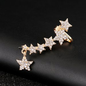 Серьги клипа полного Crystal Star Earcuffs Мода Золото Серебро покрыло ZLDYOU Hot New Left Right Ear Cuff Женщины подарки ювелирных изделий