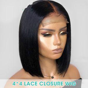 Gösteriler Kadınlar Siyah SloveRosa için 4x4 Dantel kapatma Peruk İnsan Saç Öncesi Mızraplı ağartılmış Knots Kısa Bob Brezilyalı Remy Peruk% 150 yoğunluğunu Shine