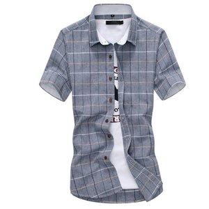 LEFT ROM camisas manga curta Casual algodão puro 2019 homens de moda verão de alta qualidade / MAN lapela slim fit grade camisas 5XL