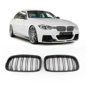 US Stock Gloss Black Front Kidney Grille Double Rib For BMW F30 328i 335i 12-16