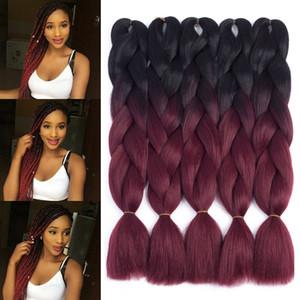"""(5пакетов, 24 """") 2 тона Jumbo Braid Ombre Плетение волос X-pression Наращивание волос Afro Box Косы Вязание крючком синтетическое волокно для волос 100 г / уп"""