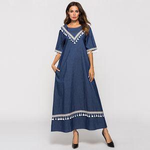 Snordic Blue Loose Maxi Dress Queen Casual Women Fashion Girl Boho A-line Robe O-neck Tassel Long Dresses 2019 Vestidos DROWYD