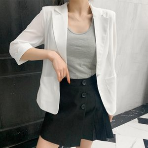 Primavera Verano Traje Chaqueta femenina Coats Casual elegante botón de Office Damas Blazer blanca soltera adapta a la chaqueta Blazer Mujeres Q2509