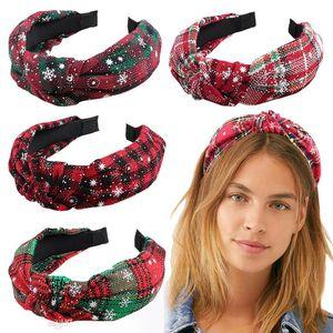 Xmas Plaid Hair Sticks Big Girls Snow Copla Plaid Impreso Pelo Hoop Bowknot Headbands Navidad Niños Accesorios para el cabello DA050