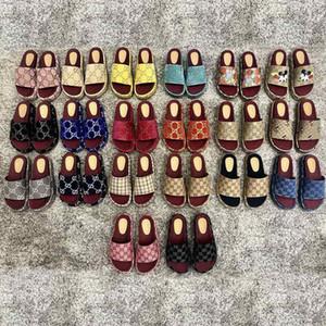 Women Platform Best Quality Sandal Slides Shoes Embroidery printed surface Fashion Platform Slipper 19 Colors Beach Sandals US3.5-US8.5