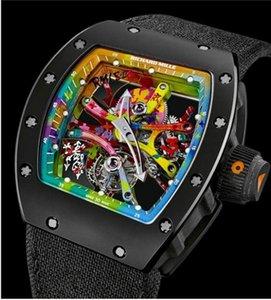 2020 A5РичардMill Luxury Sport часы из нержавеющей стали Алмазный Iced Часы Все Циферблат работы хронограф каучуковый ремешок R-мужской Clock5