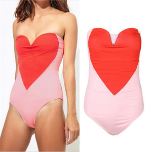 Sexy One Piece Frauen-Badeanzug, Rosa, Rot Liebes-Herz-Frauen-Schwimmen-Badeanzug-Badebekleidung 2019 Push Up Bikini Ganz Dame Swimwear