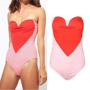 Seksi One Piece Kadınlar Mayo Pembe Kırmızı Aşk Kalp Kadın Yüzme Mayo Mayo 2019 Push Up Bikini Tüm Lady Mayo